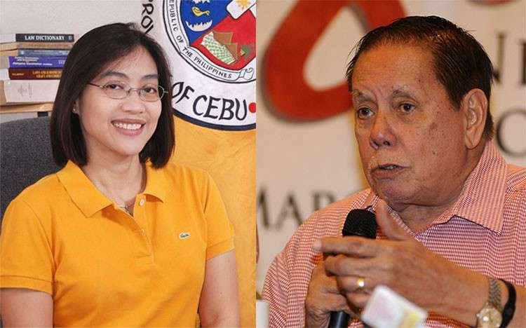 Geraldine Gaye Yapha and Toledo City Mayor Sonny Osmeña. (Photos from Yapha's Facebook page and SunStar)