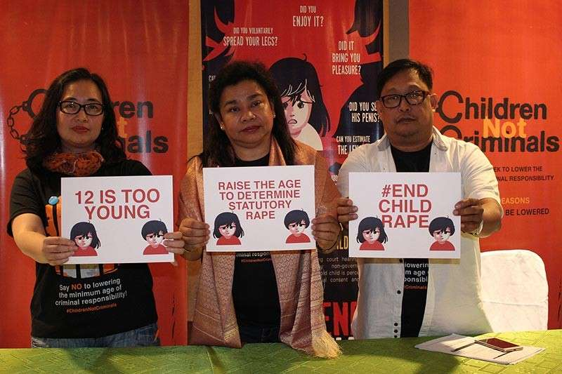 BAGUIO. Child rights advocates Marj Ardivilla of Unicef Philippines Child Protection, Ma. Victoria Diaz from the Commission on Human Rights Child Rights Center, and Romeo Dongeteo, convener of Child Rights, are urging lawmakers to raise the age for statutory rape. (Photo by Jean Nicole Cortes)