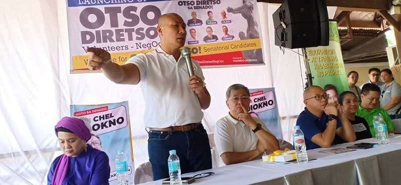 "BACOLOD. Some of the senatorial bets of opposition's ""Otso Diretso"" hold a dialogue with representatives of different sectors in Bacolod City on Friday, February 22. (Teresa Ellera)"