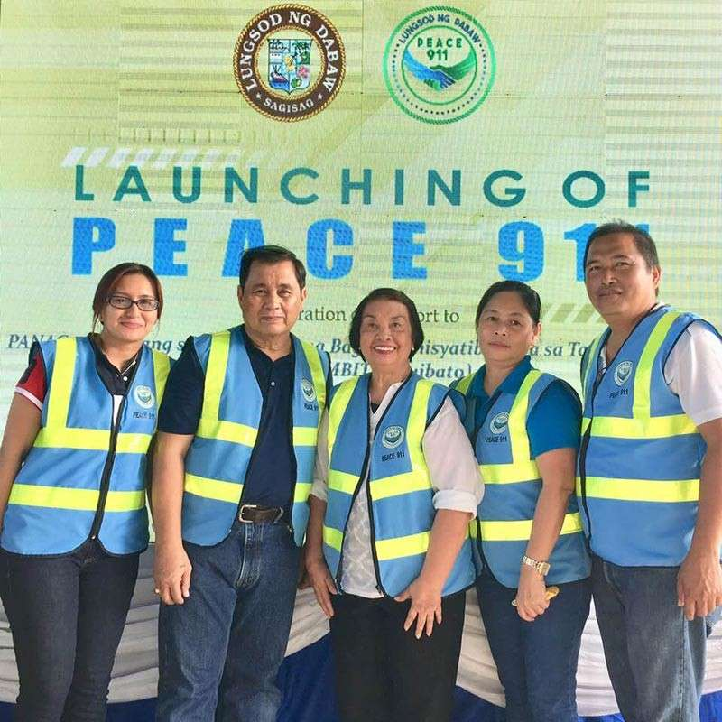 The members of the peace board during the formal launching last year of Peace911: Atty. Elayza Lapina, Judge Ridgway Tanjili (chairman), Santiago, Malou Bermudo of the City Social Services and Development Office, and Barangay Captain Jessie Areja. (Peace911 Photo)