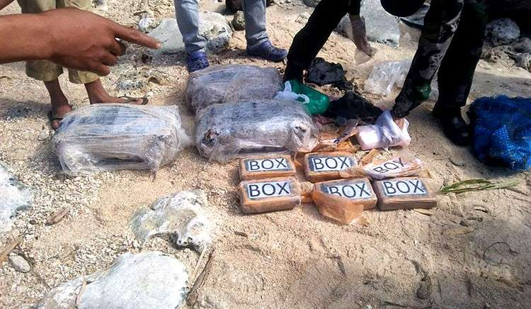 DAVAO. Cocaine bricks found in Davao Oriental. (PNP photo)