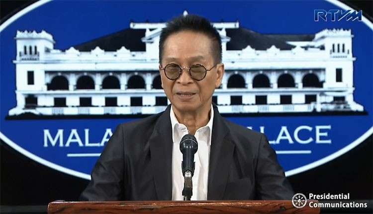 MANILA. Presidential Spokesperson Salvador Panelo in a press briefing in Malacanang on Tuesday, February 26, 2019. (Screenshot from RTVM video)