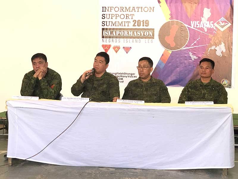 NEGROS. (From left) Lieutenant Emelito Thaddeus Logan, commander of 79th Infantry Battalion (IB); Lieutenant Colonel Patricio Tomales, commander of 15th IB; Lieutenant Moh-Yusop Hasan, commander of 3rd Civil Military Operations Battalion; and Lieutenant Colonel Egberto Dacoscos, commander of 62nd IB during the Information Support Summit 2019 held at the Canieso Hall of the 303rd Infantry Brigade headquarters in Camp Major Nelson Gerona, Murcia, Negros Occidental Tuesday, February 26. (Glazyl Y. Masculino)