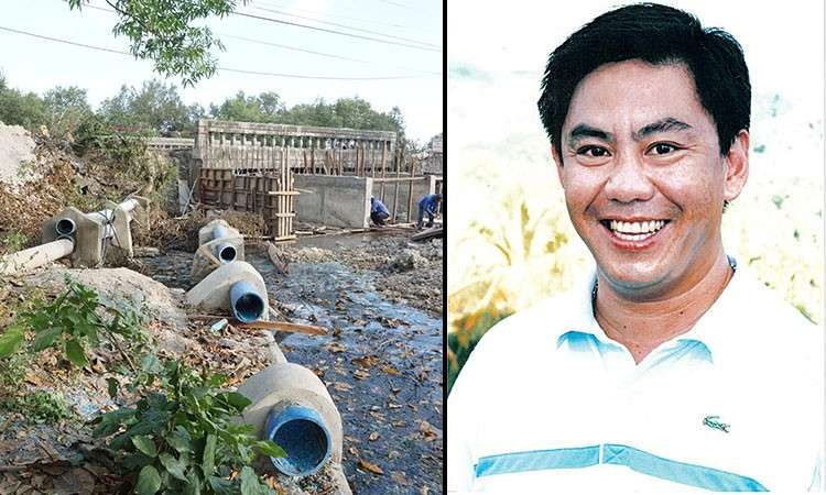 CEBU. Drainage system (left photo) of the Multifarms Agro-Industrial Development Corp. in San Fernando, Cebu, and Lapu-Lapu City mayoral bet Junard