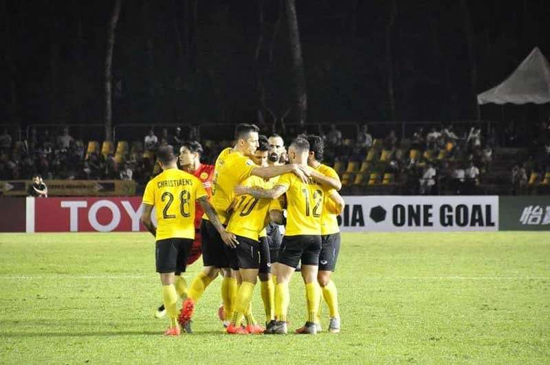 BACOLOD. Players of Ceres-Negros celebrate following a goal against Myanmar's Shan United in their AFC Cup 2019 opening match at the Panaad Stadium in Bacolod City on Tuesday night. (Merlinda Pedrosa)