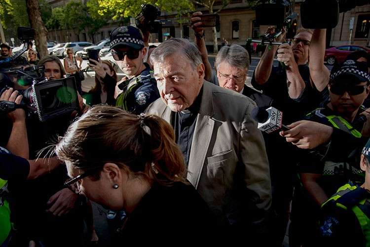 AUSTRALIA. Cardinal George Pell arrives at the County Court in Melbourne, Australia, Wednesday, February 27, 2019. The most senior Catholic cleric ever convicted of child sex abuse faces his first night in custody following a sentencing hearing on Wednesday that will decide his punishment for molesting two choirboys in a Melbourne cathedral two decades ago. (AP)