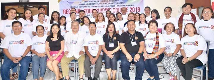 BACOLOD. Training participants with Negros Occidental Tourism Division Team headed by Supervising Tourism Operations Officer Cristine Mansinares (seated, 3rd from left), Ryan Sebastian (seated, 4th from left) from the Manpower Industry Development Division of Department of Tourism (DOT)- Manila, Tim Ticar (seated, 5th from left) from DOT- Western Visayas, Team Philippines-Western Visayas president Dr. Gina Montes (seated, 5th from right) and Alliance of Tour Guides in Occidental Negros president Cidni Mapa (seated left) during the first day of the tour guiding course at Negros First Negosyo Center in Bacolod City on Saturday, March 2. (Contributed photo)