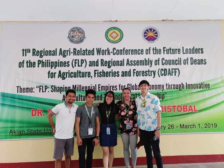 AKLAN. University of Saint La Salle- Bacolod Agribusiness Department adviser Bea Emma Bachinela (second from left) with their student-delegates during the 11th Agri-Related Work-Conference of the Future Leaders of the Philippines held at Aklan State University from February 26 to March 1. (Contributed photo)