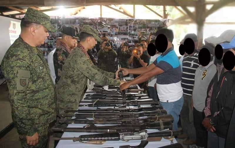NEGROS. The localized peace talks led to the surrender of 25 armed members of the New People's Army before the officers of the 79th Infantry Battalion, 6th Special Action Battalion - Special Action Force and 1st Negros Occidental Provincial Mobile Force Company of the Philippine National Police held at the 79th Infantry Battalion headquarters in Barangay Bato, Sagay City, Negros Occidental around 10:30 a.m. on Saturday, March 2. (Contributed photo)
