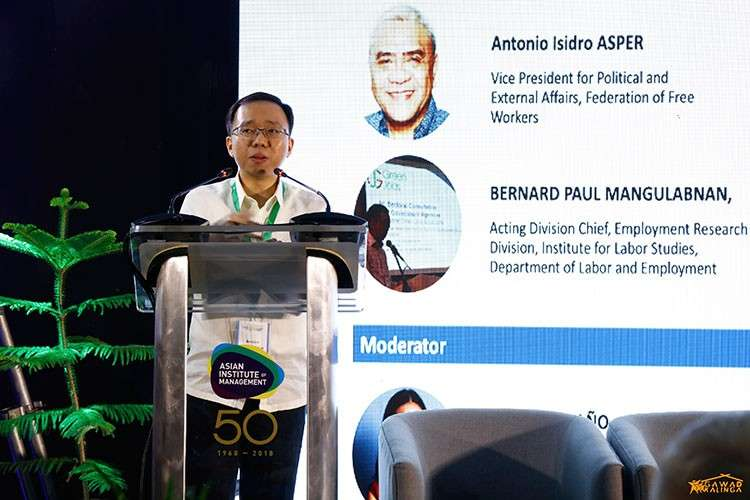 MANILA. Bernard Paul Mangulabnan, acting chief Labor and Employment officer, speaks during the Green Jobs breakout session in the recently concluded Barangay Walang Iwanan (BWI) Summit 2019. (Contributed photo)