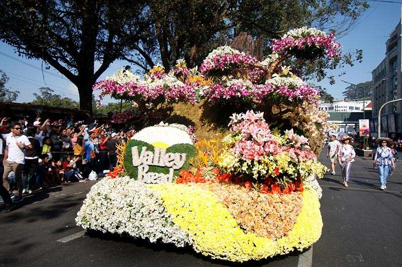 BAGUIO.  Floral floats parade along the city's major thoroughfares during the Panagbenga's grand float parade on Sunday, March 3, 2019. (Photo by Jean Nicole Cortes)
