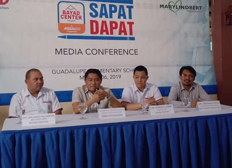 CEBU. (From left to right) BAYAD Center VisMin Area Head Orlando Palompon, Cebu City Schools Division Superintendent Dr. Bianito Dagatan, BAYAD Center Marketing Head Wendell Labre, and Marylindbert International Vice President and Head of Operation Jonathan Pavig talk to reporters during the