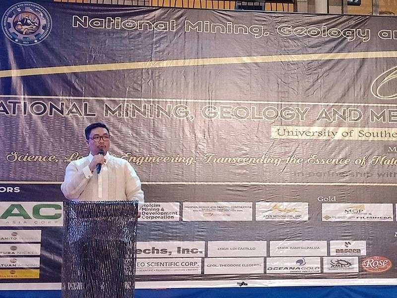 DAVAO. Mines and Geosciences Bureau Davao (MGB 11) regional director Jasper Alberto Lascano gives his opening message at the Responsible Mining Symposium Thursday, March 7, 2019, at the Abreeza Ayala Mall. (Photo by Lyka Casamayor)