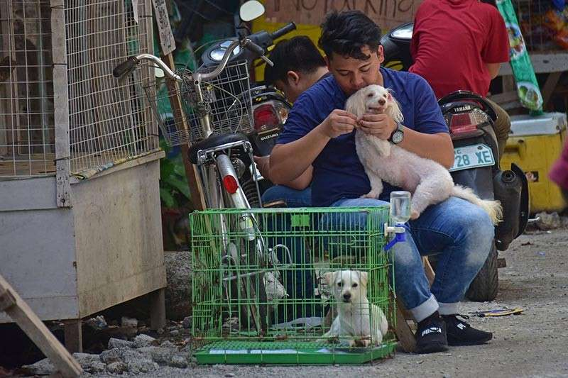 DAVAO. A man and his pets. (Photo by Macky Lim)