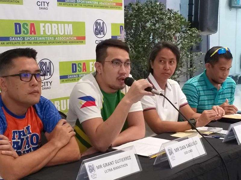 DAVAO. Dan Saguilo of the Sports Development Division of the City Mayor's Office (SDD-CMO), second from left, says during Thursday's Davao Sportswriters Association (DSA) Forum at The Annex of SM City Davao that security, venue and cash prizes are ready for the upcoming 2019 Araw ng Dabaw Invitational Basketball Tournament. (Marianne L. Saberon-Abalayan)