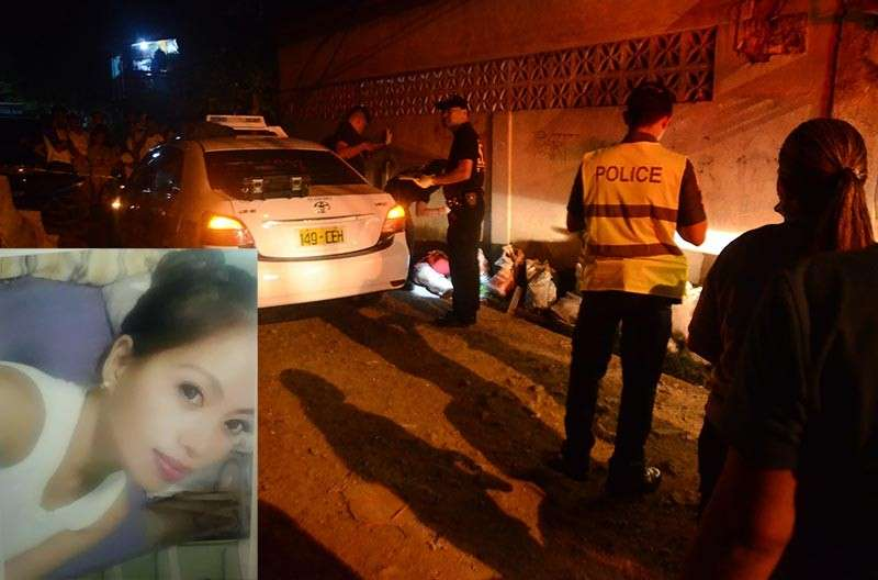 "A WARNING TO JOY? Janelyn Encila (inset) was pulled out of the taxi she was riding in, shot multiple times by a man, and left in the gutter to die on Wednesday night, March 6, in Labogon, Mandaue City. She was the sister of Jocelyn ""Joy"" Encila who was arrested in a drug bust on March 3. Police said the sisters may have deep knowledge of the operations of the Kuratong Baleleng Gang in Cebu and the Kuratong fear they would rat on the group. (SunStar photo / Alan Tangcawan; Contributed [inset])"