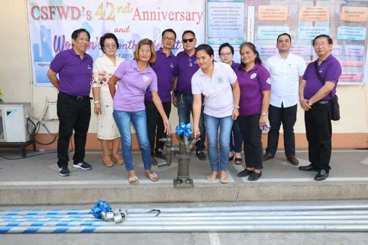 PAMPANGA. City of San Fernando Water District General Manager Jorge Gumba, Chairman Fer Caylao, Secretary Benerito Aldana, Treasurer Joe Tulio, Director Felicitas Maglalang, and PrimeWater San Fernando Branch Manager Jan Michelle Canlas led the turnover of water pumps to various women's groups which coincided with the 42nd anniversary of the water utility on Thursday, March 7. (Chris Navarro)