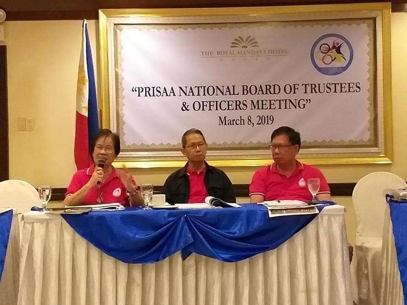 DAVAO. National Prisaa president Maria Lita Montalban, left, spearheads the coordination meeting with national Prisaa board officers and partner agencies as national chairman Fr. Vic Uy, SVD and Prisaa Region 12 president Fr. Jess Pasquen at The Royal Mandaya Hotel Friday, March 8, 2019. (Marianne L. Saberon-Abalayan)