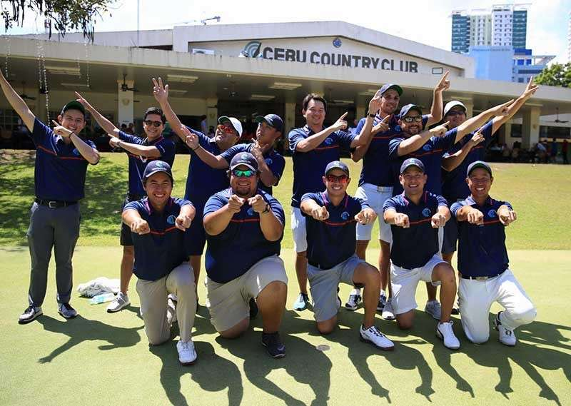 They did it. Members of the Cebu Country Club team celebrate after a historic victory in the PAL Interclub men's regular tournament. (Contributed Photo)