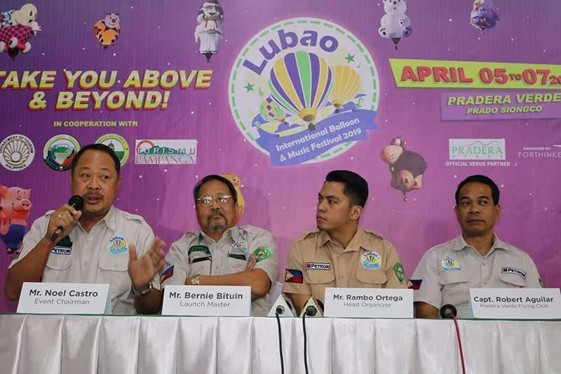 PAMPANGA. Lubao International Balloon and Music Festival 2019 Event Chairman Noel Castro (L) answers questions from the media during yesterday's press conference at Pradera Verde, Lubao, Pampanga. Joining him are (L-R) Bernie Bituin, Launch Master; Rambp Ortega, Head Organizer and Capt. Robert Aguilar of Pradera Verde Flying Club. (Chris Navarro)