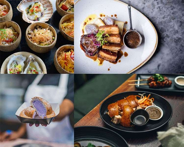 LONDON. (L-R, clockwise): Kinilaw & Buko, Romulo Café, Sarap London, and Mamason's are among the Filipino restaurants and pop-ups competing for a spot in the Golden Chopsticks Awards. (Photo courtesy of each restaurant/pop-up)