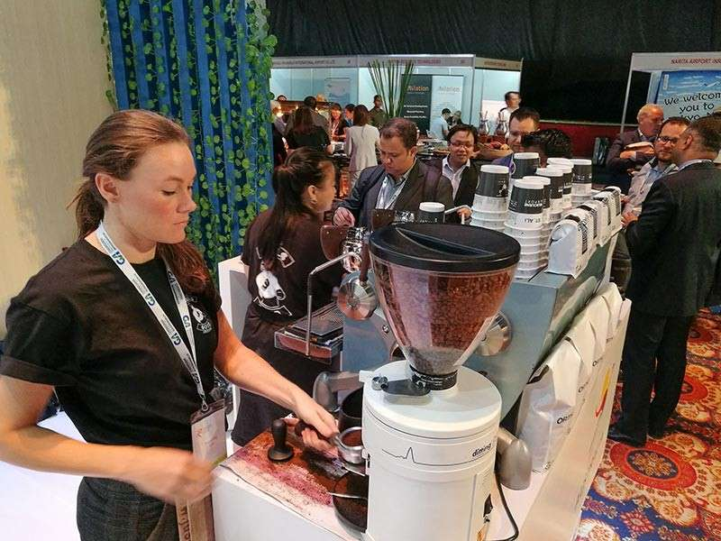 TIME FOR A BREAK. The St. Ali coffee being served by the Melbourne Airport booth at the Routes Asia 2019 is a welcome sight.(SunStar photo / Arni Aclao)