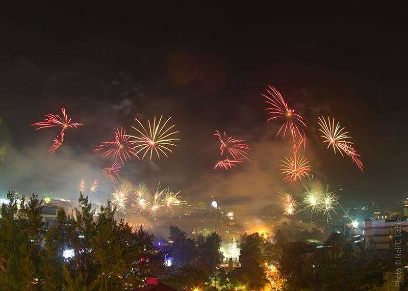 BAGUIO. The 24th edition of the Baguio Flower Festival or Panagbenga came to a close Sunday evening as Baguio residents and tourists were treated to a 30-minute fireworks display in key areas of the city. (Photo by Noli Gabilo)