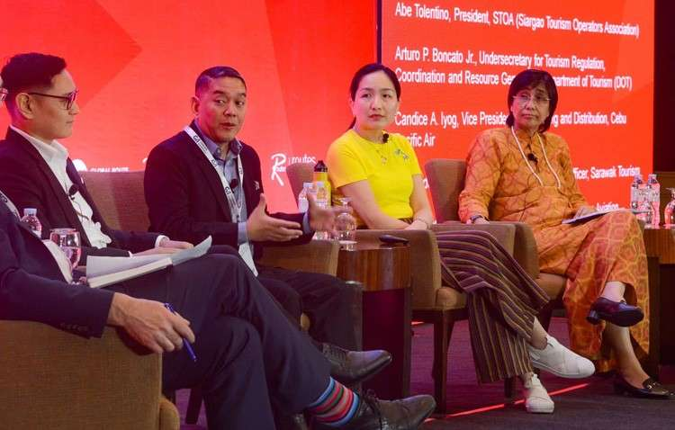 CEBU. Tourism Undersecretary Arturo Bongcato (third, from right) leads a discussion on sustainable tourism during the third day of the Routes Asia 2019 Forum in Cebu. With him are Siargao Tourism Operators Association (STOA) president Abe Tolentino; Candice Iyog, Cebu Pacific Air Vice President for Marketing and Distribution; and Sharzede Datu Hj Salleh Askor, Sarawak Tourism Chief Executive Officer. (SunStar/Arni Aclao)