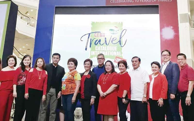 Travel Movers. At the opening of the Cebu Travel Catalogue International 2019 at Ayala Center Cebu, from left, Aida Uy of Cebu Fortune Travel, Fairlie Uy of Royal Prince, Pan Pacific's Gwen Po, Department of Tourism 7 regional director Shahlimar Tamano, Lapu-Lapu City Mayor Paz Radaza, Delmar Travel's Marilou Ordoñez, Resorts World president/chief executive officer Kingson Sian, CTTA president Angelita Dy of Grand Hope Travel, Marget Villarica of Destination Specialists, PAL executives—senior assistant vice president-sales Harry Inoferio, Visayas area head Reyani Romano and vice president-Sales Ryan Uy, and Alan Carvajal of Travelways.