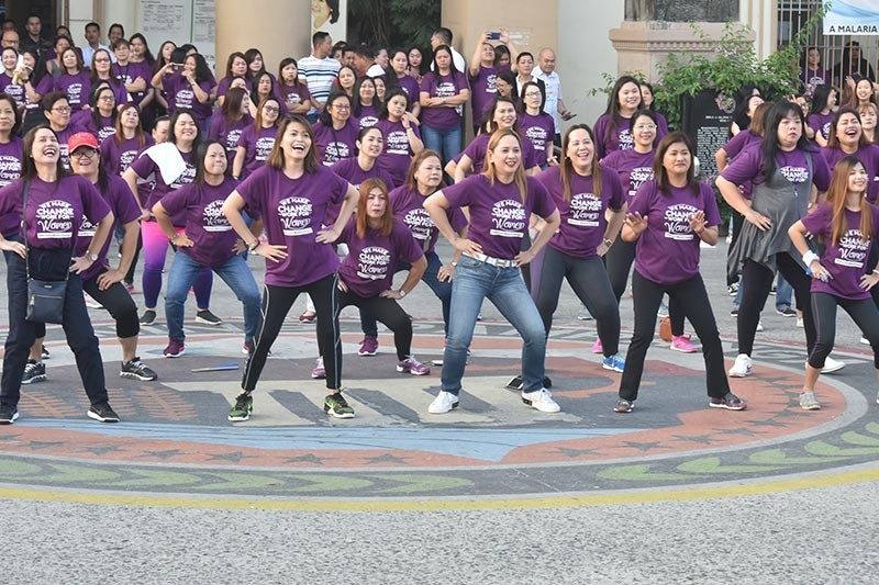 CITY OF SAN FERNANDO. Board members Fritzie David-Dizon and Cherry Manalo led female provincial government employees in the Zumba dance as part of Women's Month celebration at Capitol on Monday, March 11, 2019. (Jun Jaso/Pampanga PIO)