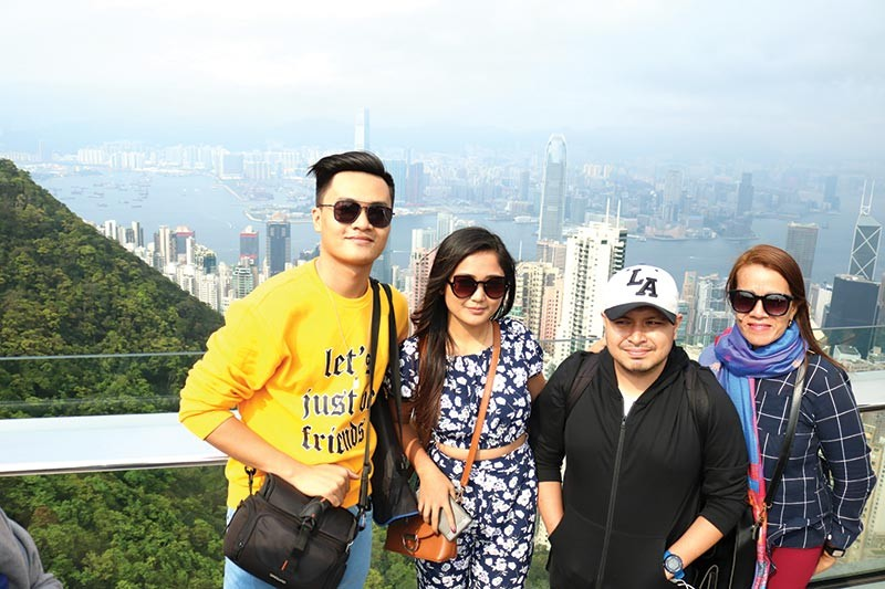 HONG KONG. My travel buddies: (From left) Jandi, Ralph, and mama Mae. (Photo by Ace June Rell S. Perez)