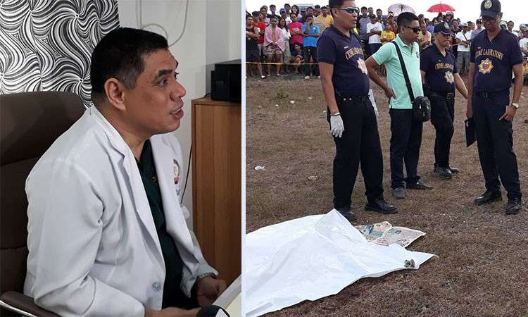CEBU. Superintendent Benjamin Lara, PNP Crime Laboratory medico-legal officer, and the scene of the crime in Lapu-Lapu City. (SunStar File)