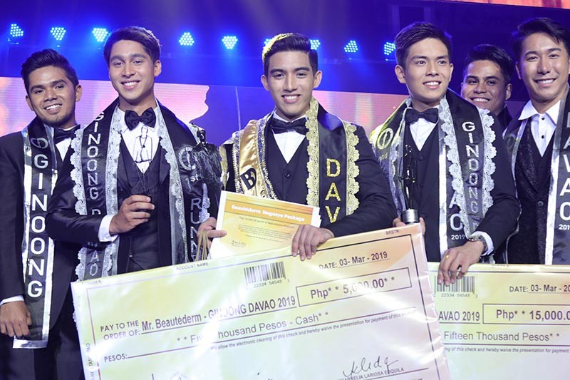 Ginoong Davao 2019 Kyle Emmanuel Gaite with 1st runner-up Cyriel Laurence Rosil and 2nd runner-up Abraham Yahya. (Mark Perandos)