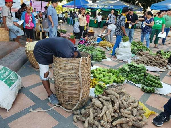 CAGAYAN DE ORO. A vendor grabs his local produce inside the basket as the Cagayan de Oro City Hall transforms its mini park into an open market in celebration of National Women's Month. (Kris Sialana/Superbalita Cagayan de Oro)