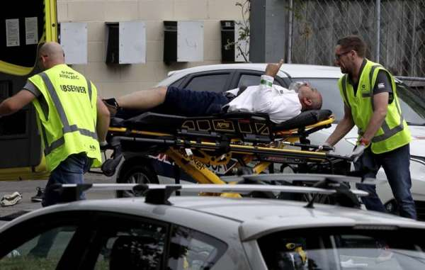 NEW ZEALAND. Ambulance staff take a man from outside a mosque in central Christchurch, New Zealand, Friday, March 15.  A witness says many people have been killed in a mass shooting at a mosque in the New Zealand city of Christchurch.(AP Photo)