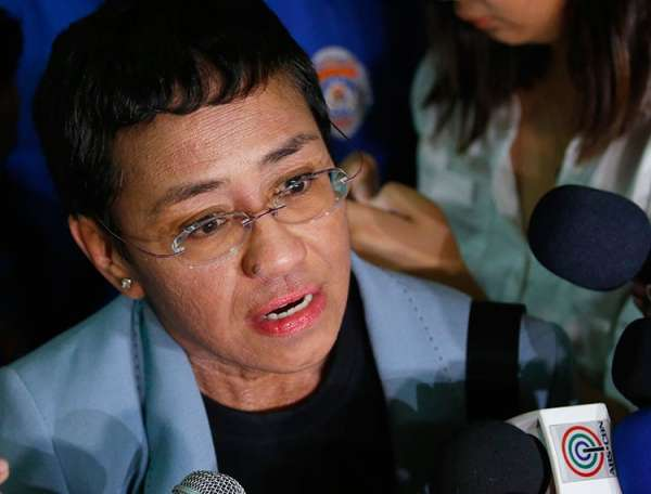 MANILA. In this February 14, 2019 file photo Maria Ressa, the award-winning head of online news site Rappler, talks to the media after posting bail at a Regional Trial Court following an overnight arrest by National Bureau of Investigation agents on a libel case in Manila. (AP)