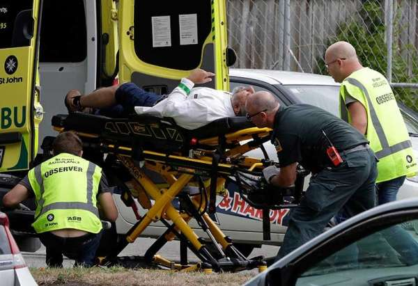 Terror Attack. Ambulance staff take a man from outside a mosque in central Christchurch, New Zealand, Friday, March 15, 2019. (AP)