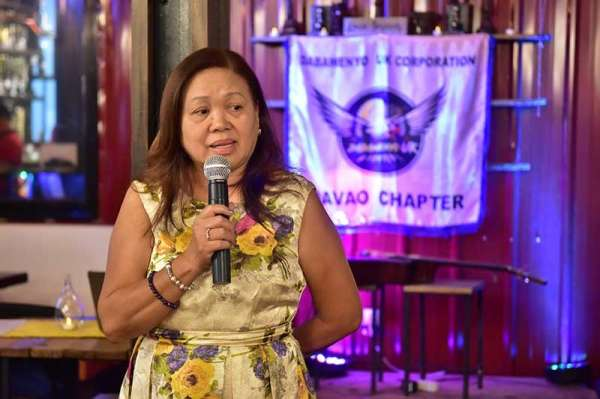DAVAO. One of the founders of the Dabawneyo UK Corporation Chit Sarmiento giving her inspirational message. (Contributed photo)