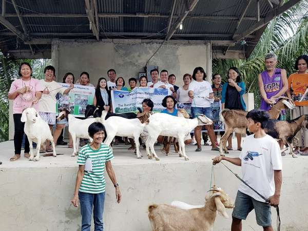 A GIFT OF GOATS. Taiheiyo Cement Philippines Inc. extends its helping hands to poor farmers living in remote villages in San Fernando town. (Contributed foto)
