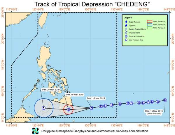 CEBU. Makasinati og pag-uwan ang laing parte sa Sugbo sa Martes, Marso 19, subay sa pag-landfall sa Bagyong Chedeng sa Davao Oriental. (Pagasa foto)