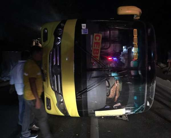 CEBU. A Ceres bus bound for Cebu City accidentally toppled while passing Barangay Valladolid, Carcar City on Monday dawn, March 18. Only four people, including the driver, of the bus' 39 passengers were hurt during the accident. (Contributed foto/ Barili town councilor Julieto Flores)