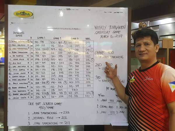 DAVAO. John Tamondong wins the Datba weekly qualifying tournament title at SM Lanang Premier Bowling Center over the weekend. (Jesrael Rule Facebook)