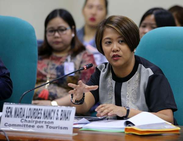 MANILA. Senator Nancy Binay gestures during a hearing at the Senate. (Contributed photo)