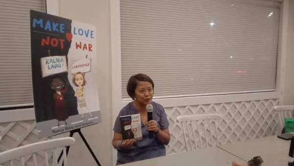 "'MAKE LOVE.' Sen. Nancy Binay, who is seeking reelection this May, says promoting her second book titled ""Make Love, Not War"" takes time away from her campaigning but she believes it's worth it to tell people how to cope with social media bashing and win over their bashers. The book is a collaboration with Binay's No. 1 basher, Senyora Angelika ""Ganda"" Santibañez. (SunStar photo / Wenilyn Sabalo)"