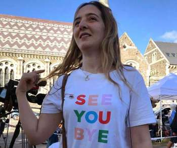 NEW ZEALAND. Aya Al-Umari wears the T-shirt that her brother, Hussein Al-Umari, 35, teased her about the last time she saw him, before he was killed on March 15 in the attack at the Al Noor mosque in Christchurch, New Zealand, Tuesday, March 19, 2019. (AP)