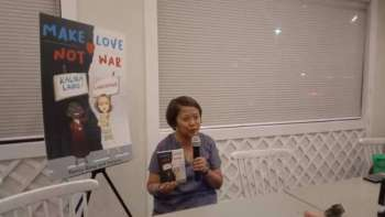 """'MAKE LOVE.' Sen. Nancy Binay, who is seeking reelection this May, says promoting her second book titled """"Make Love, Not War"""" takes time away from her campaigning but she believes it's worth it to tell people how to cope with social media bashing and win over their bashers. The book is a collaboration with Binay's No. 1 basher, Senyora Angelika """"Ganda"""" Santibañez. (SunStar photo / Wenilyn Sabalo)"""