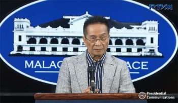 MANILA. Presidential Spokesperson Salvador Panelo in a press briefing in Malacanang Thursday, March 21, 2019. (Screenshot from RTVM video)