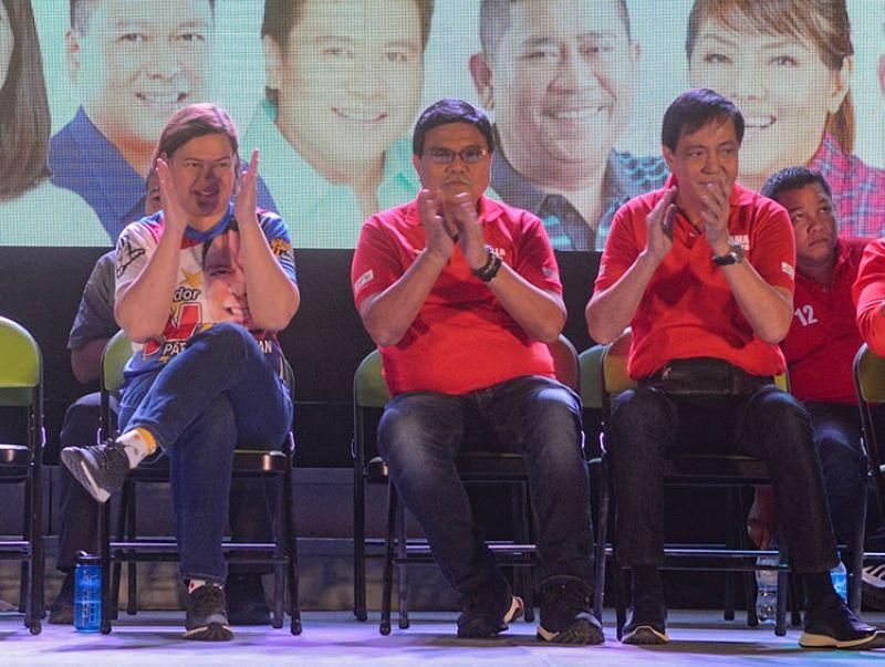 CEBU. Davao City Mayor Sara Duterte-Carpio (left) with Cebu City Vice Mayor Edgar Labella and former Cebu City mayor Mike Rama during the Hugpong ng Pagbabago political rally in Cebu Thursday, March 21, 2019. (Arni Aclao)