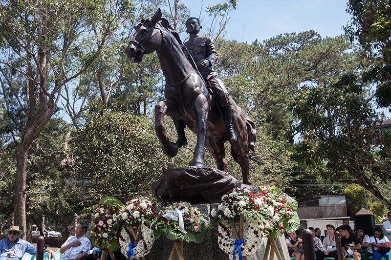 BAGUIO. Wreaths are placed on the late General Emilio Aguinaldo's shrine in Baguio city to commemorate his 150th birth anniversary on March 22. General Emilio Aguinaldo was the first and youngest President of the Philippines and first President of a constitutional republic in Asia. (Photo by Jean Nicole Cortes)