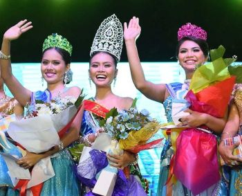 NEGROS. Sinigayan Queen 2019 Mecca Ella Barrios is flanked by 1st Princess Aliza Mae Bautista (left) and 2nd Princess Satrianne Batangas (right). (Contributed photo)